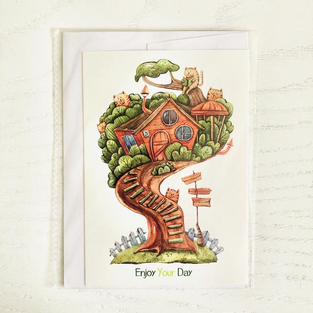 کارت پستال فانتزی خونه درختی
