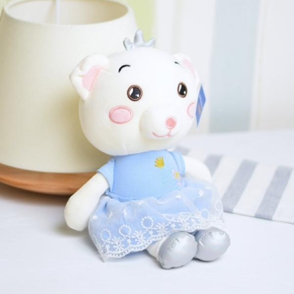خرید عروسک پولیشی خرس با لباس آبی