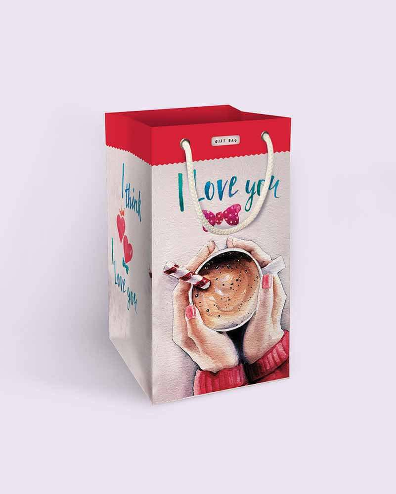 ساک هدیه عاشقانه با طرح قهوه