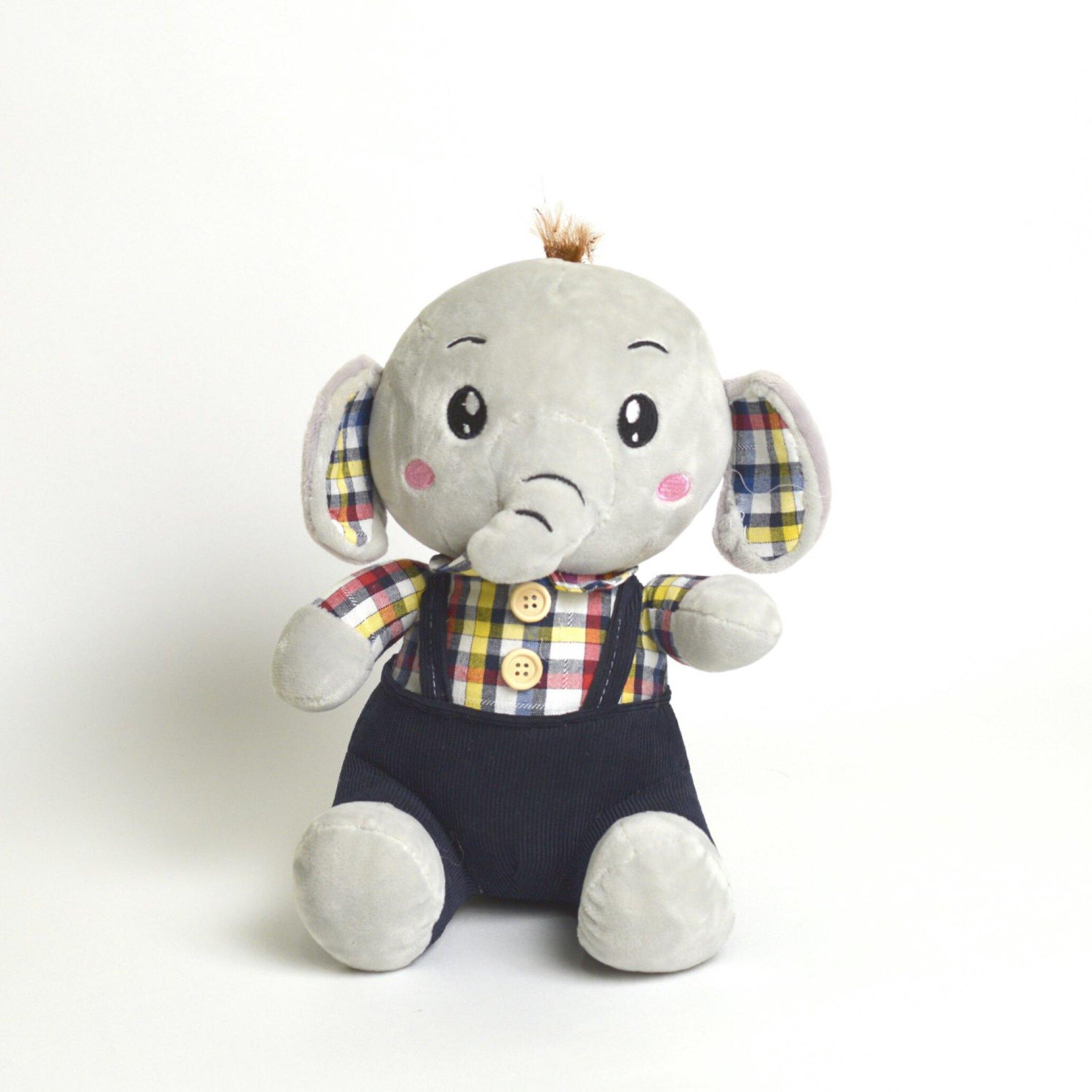 عروسک پولیشی بچه فیل با پیرهن چارخونه