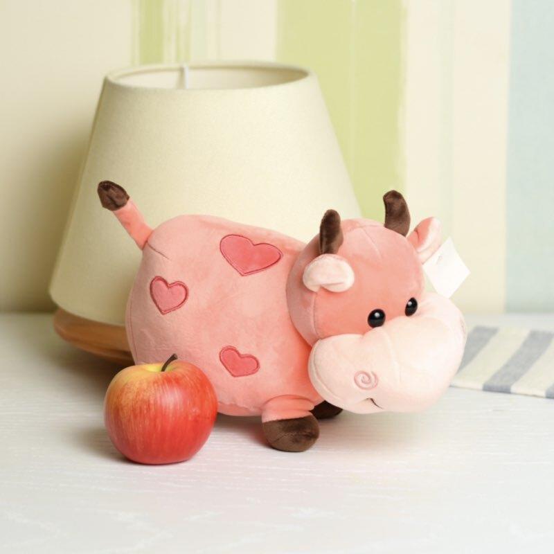 خرید عروسک گاو صورتی قلبی